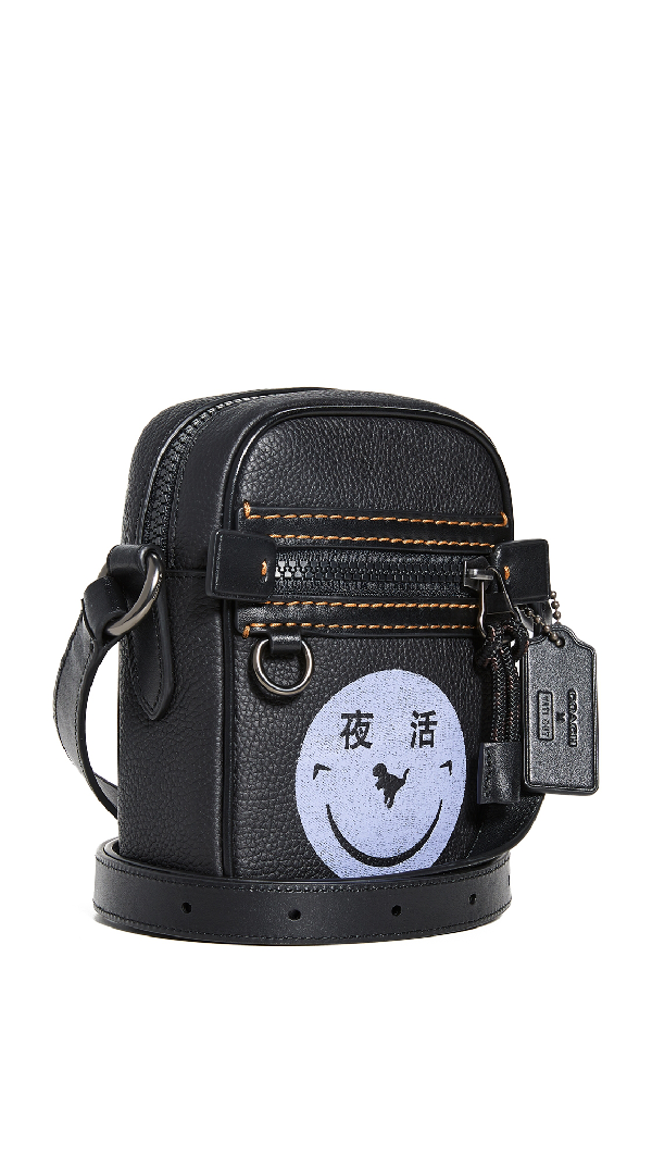 Coach 1941 X Yeti Out Dylan 10 Smiley Face Crossbody Bag In Black