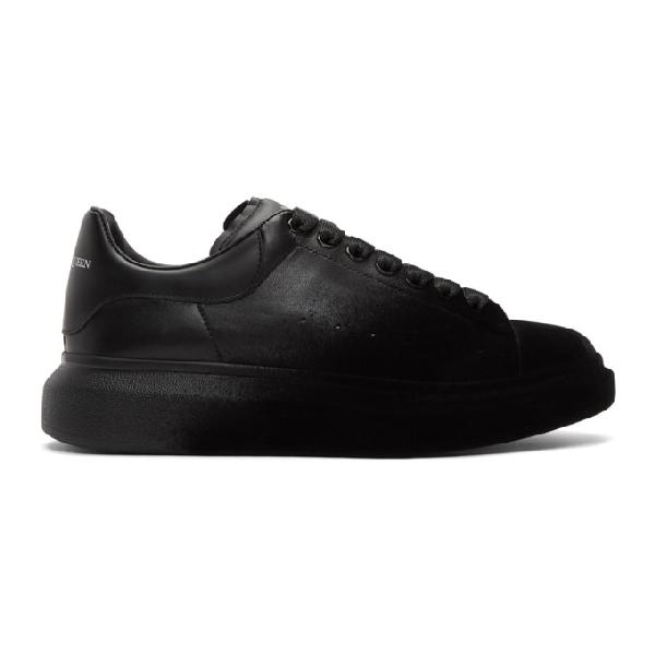 Alexander Mcqueen Black Velvet Spray Oversized Sneakers