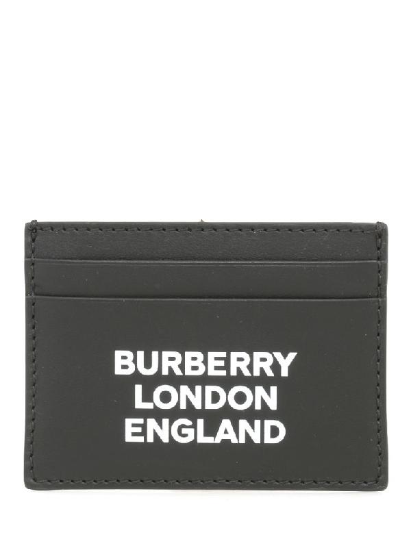 Burberry Men's Sandon Logo-typographic Card Case In Black