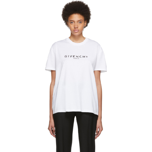Givenchy Logo-Print Regular Fit Cotton-Jersey T-Shirt In 100 White
