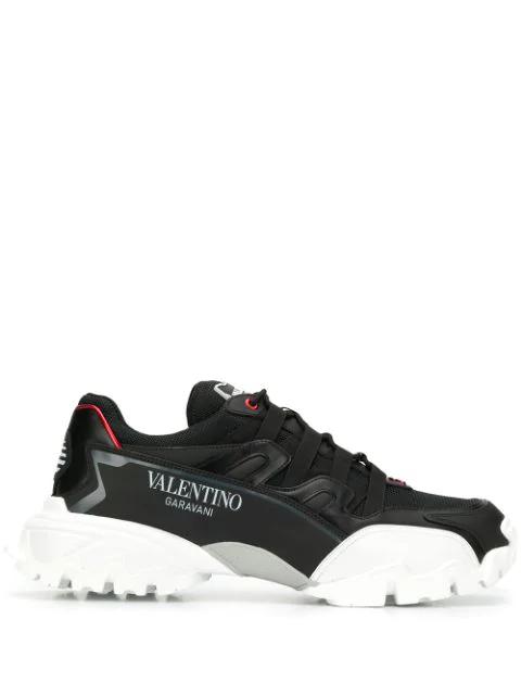 Valentino Low-Top Sneakers Bounce Calfskin Nylon Logo Black White In Kcm Black