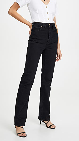 Khaite The Vanessa High Rise Cotton Denim Jeans In Black