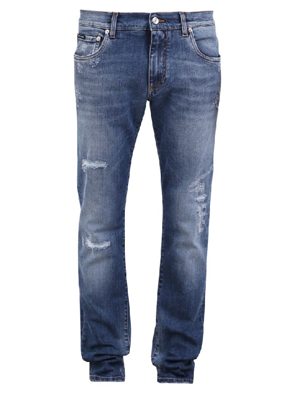 Dolce & Gabbana Distressed Jeans In Blue
