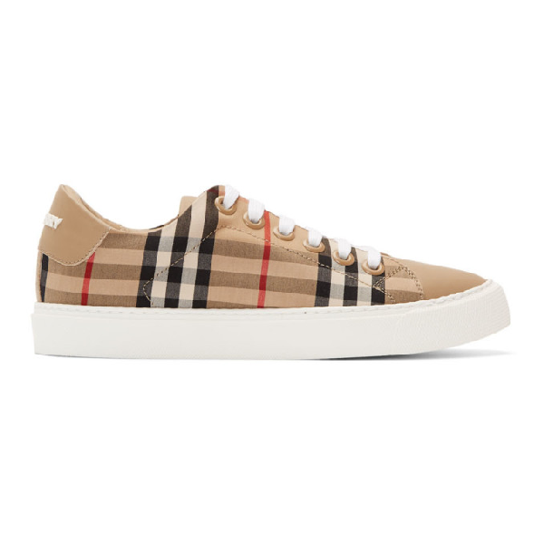 Burberry Westford Check Sneakers With Pvc Coating In Antique Yellow Cotton In Beige