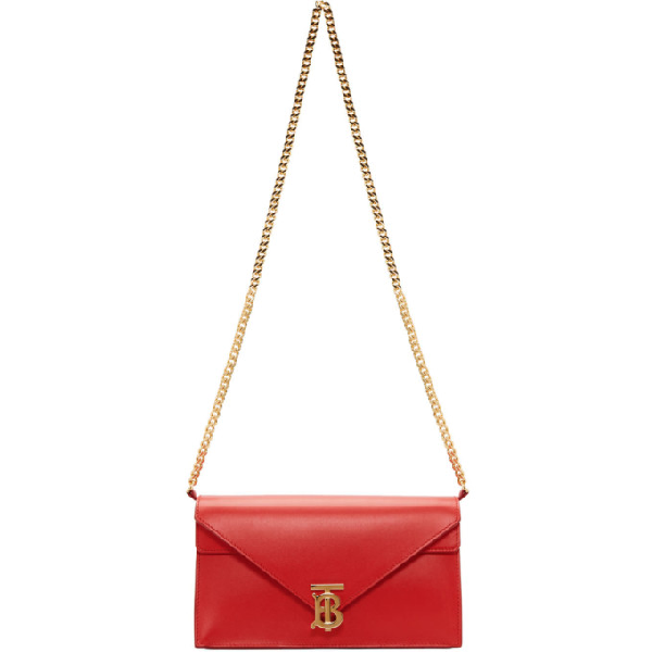 Burberry Red Women's Small Leather Tb Envelope Clutch In Bright Mred