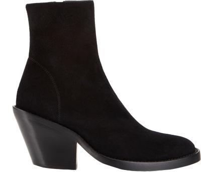 Ann Demeulemeester Basic Suede Block Heel Booties In Black