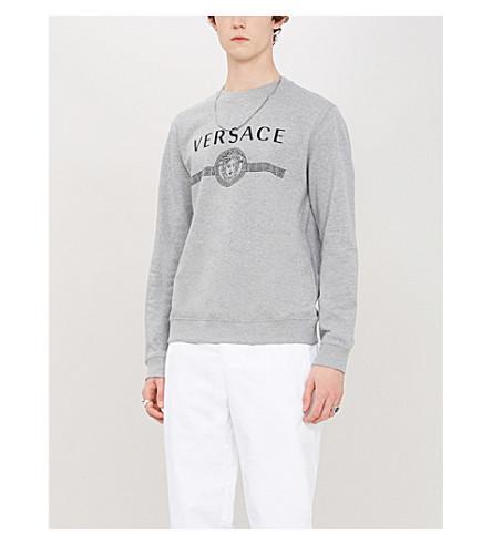 Versace Logo-Print MÉLange Loopback Cotton-Jersey Sweatshirt In Grigio Chiaro
