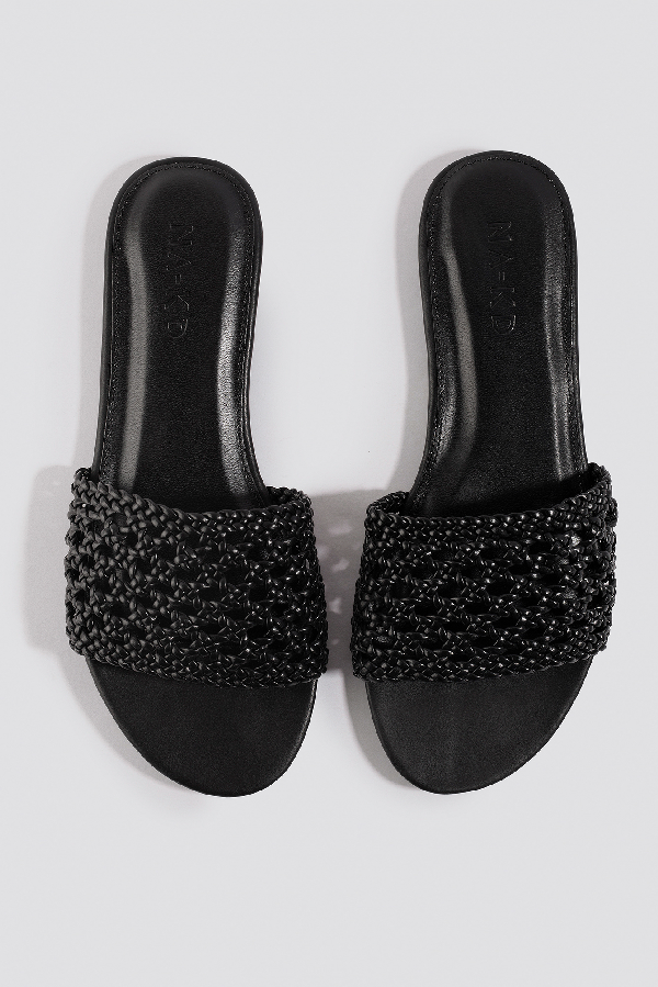Na-kd Braided Slip In Sandals - Black
