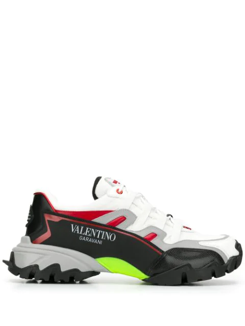 Valentino Men's Colorblock Mesh & Leather Runner Sneakers In K9M Bianco