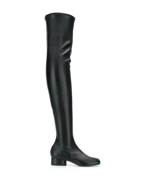 Maison Margiela Tabi Split-toe Over-the-knee Leather Boots In Black