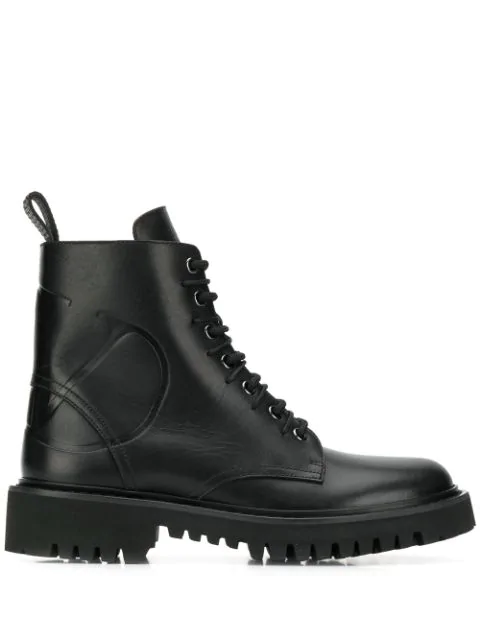 Valentino Lace Up Ankle Boots Combat Boots  Calfskin Logo Black