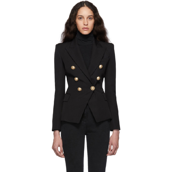 Balmain Double Breasted Wool Gabardine Blazer In 0pa Black