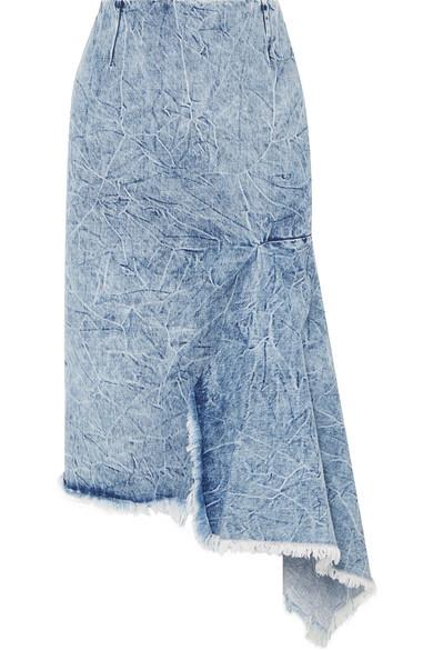Balenciaga Asymmetrical Godet Acid Wash Denim Skirt In 8861 Blue
