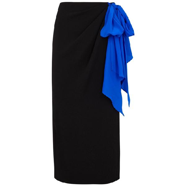 Anna October Black Crepe De Chine Wrap Skirt