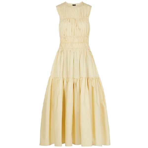 Roksanda Isilda Gathered Dark Ivory Cotton Dress In Yellow