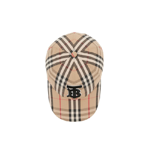 7549f922348c2b Burberry Monogram Motif Vintage Check Baseball Cap In Beige Print ...