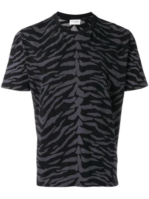 Saint Laurent Zebra-print Cotton-jersey T-shirt In Black