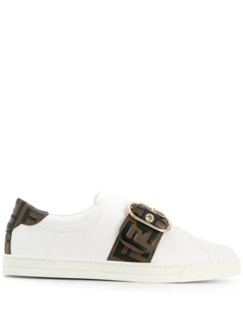 Fendi Jewel Buckle Logo Belt Leather Sneakers In White