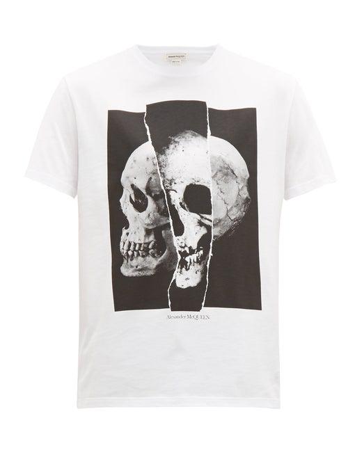 Alexander Mcqueen Men's Spliced Skull Graphic Cotton T-Shirt In White