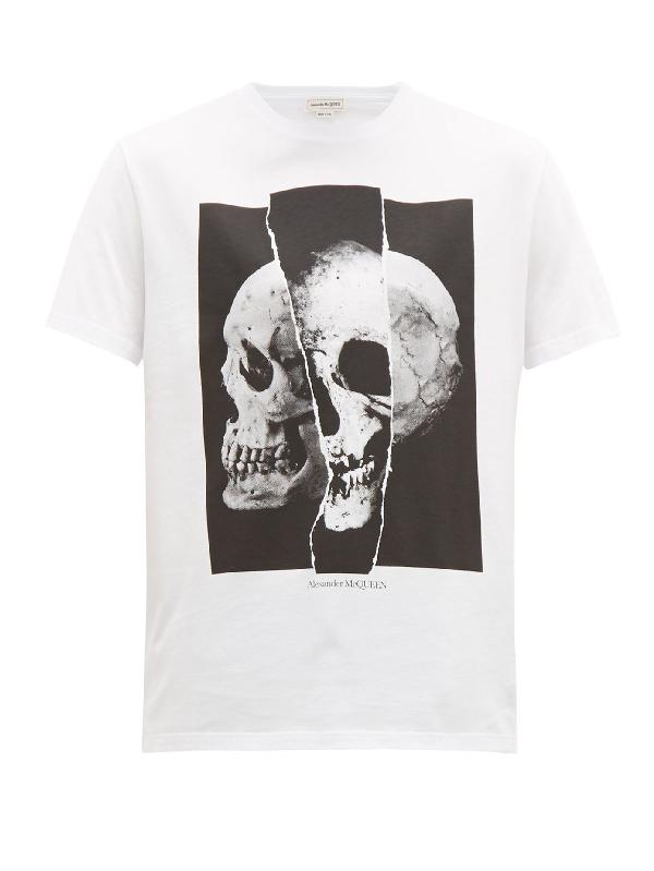Alexander Mcqueen Split Skull-print Cotton T-shirt In 0900 Whtblk