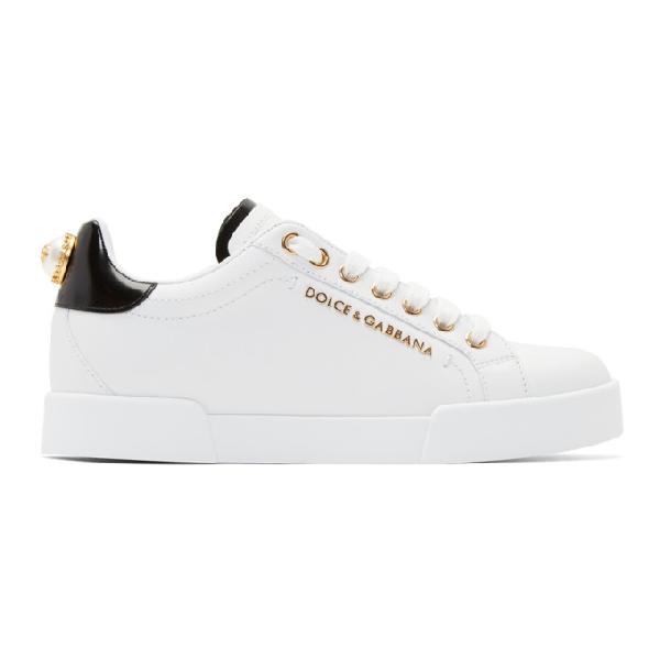 Dolce & Gabbana Calfskin Nappa Portofino Sneakers With Lettering In 89662 Black