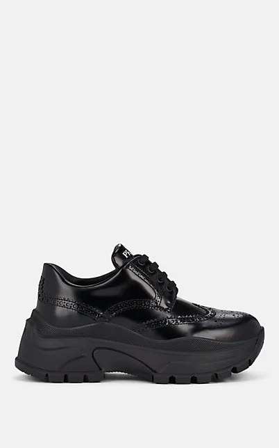 Prada Spazzolato Leather Wingtip Sneakers In Nero