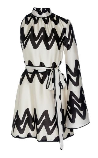 Alexis Elina Asymmetric Two-tone Printed Satin Mini Dress In Weiß