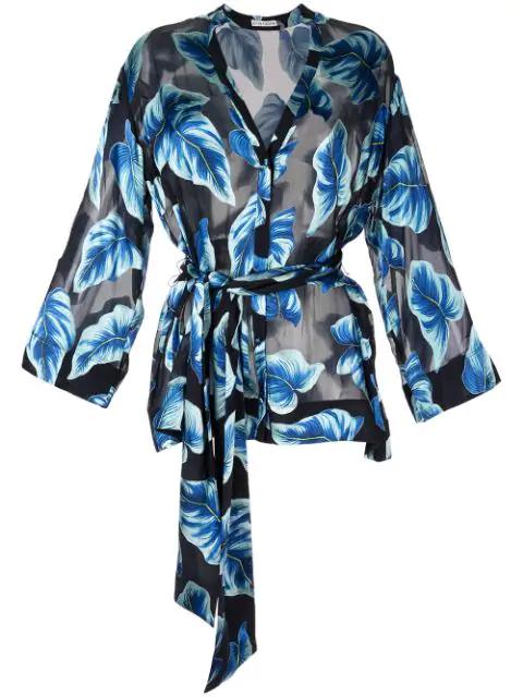 Alice And Olivia Rosario Printed Kimono Topwide Long In Blue