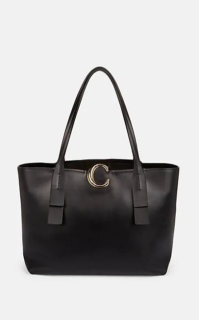 ChloÉ Initial C Leather Tote Bag - Black In 001 Black