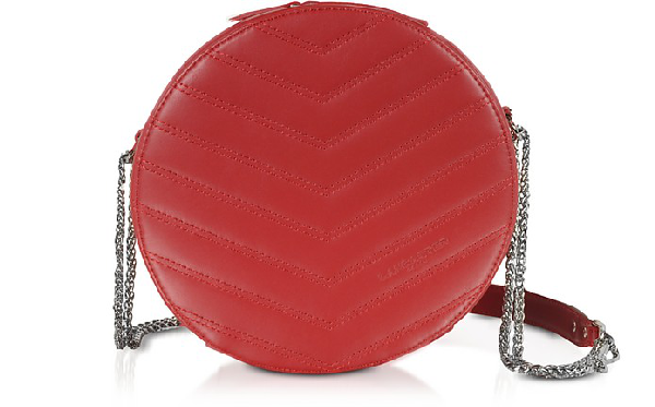 Lancaster Parisienne Quilted Leather Round Crossbody Bag In Red