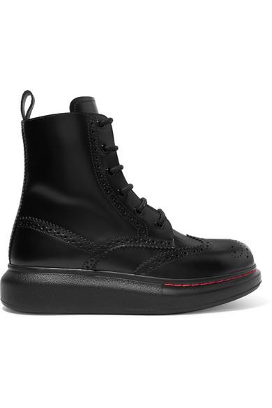 Alexander Mcqueen Black Contrast Sole Hybrid Combat Boots In 1000 Black