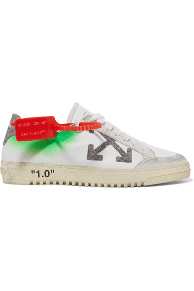 Off-White Arrow 2.0  Distressed Effect Leather And Suede Low Sneakers In 0191 White Silver