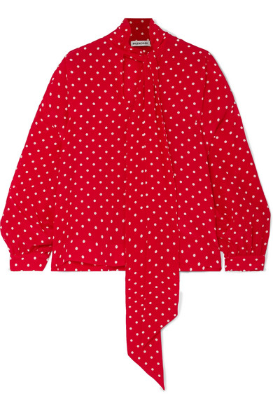 Balenciaga Pussy-Bow Polka-Dot Silk Crepe De Chine Blouse In Red