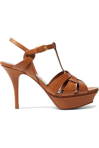 Saint Laurent Exclusive To Mytheresa – Classic Tribute 75 Leather Platform Sandals In Tan