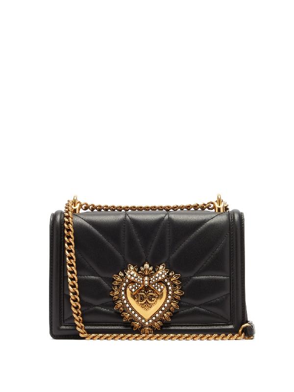 Dolce & Gabbana Devotion Micro Embellished Quilted Leather Shoulder Bag In 80999 Black