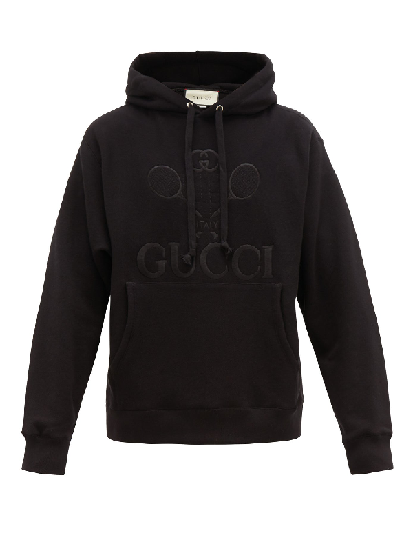 Gucci Tennis Logo-embroidered Cotton Hooded Sweatshirt In 1000 Black