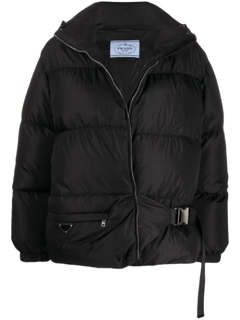 Prada Nylon Quilted Shell Down Jacket In Black In F0002 Nero