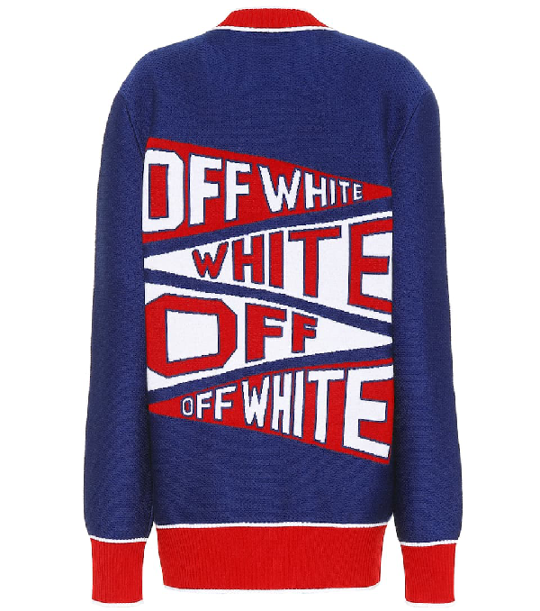 Off-white Offwhite Flag V-neck Cardigan In Electric Blue