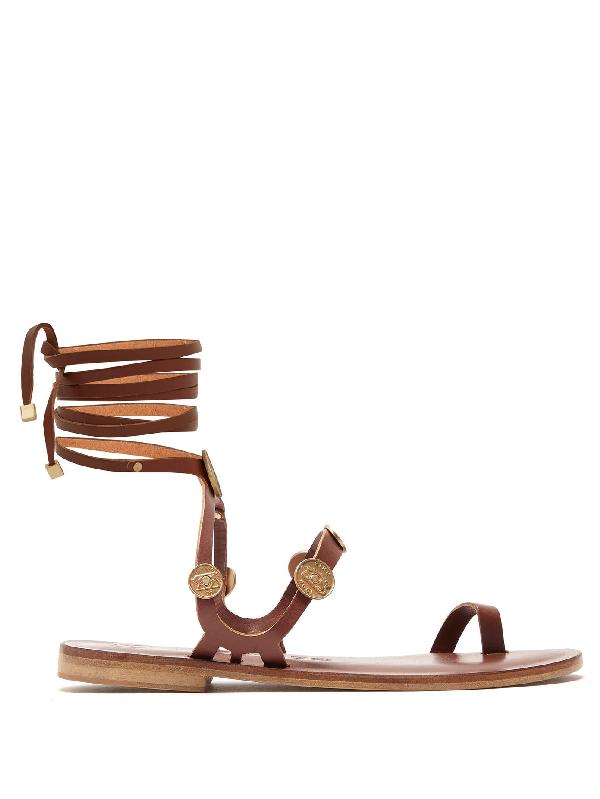 Álvaro González Alea Coin-charm Leather Sandals In Dark Brown