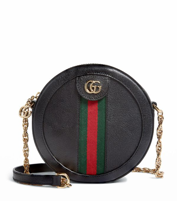 Gucci Mini Leather Round Ophidia Shoulder Bag In 1060 Black