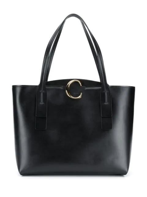 ChloÉ Medium Leather Zipped Tote Bag In Black