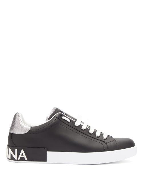 Dolce & Gabbana Men's Portofino Logo Leather Low-Top Sneakers In Black