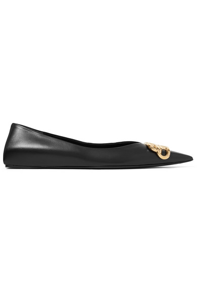 Balenciaga Square Knife Logo-embellished Leather Point-toe Flats In 1000 Blk