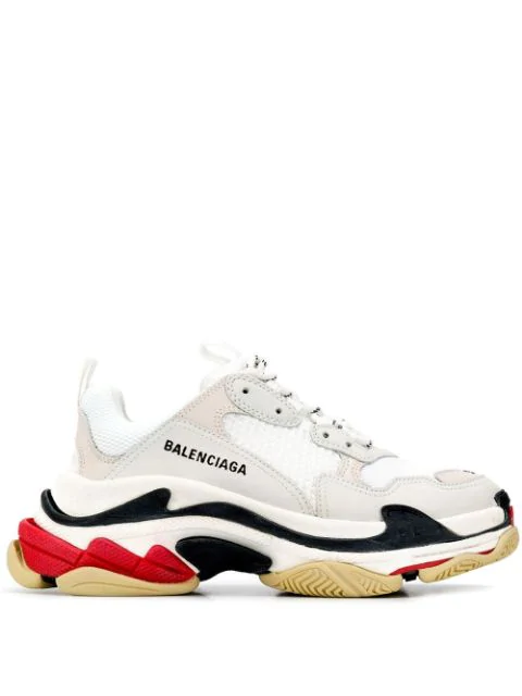 Balenciaga Triple S Logo-embroidered Leather, Nubuck And Mesh Sneakers In 9000 White