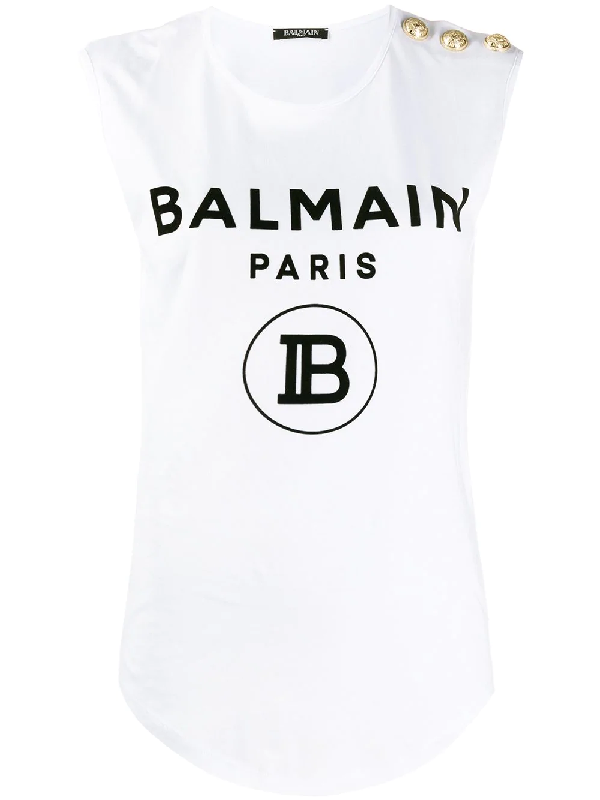 Balmain Flock Logo Top With Iconic Buttons In White