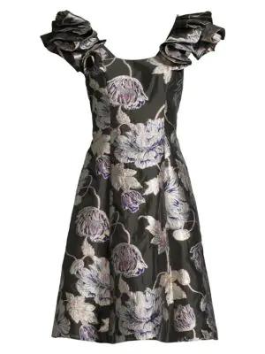 Aidan Mattox Floral Jacquard A-line Dress In Aubergine
