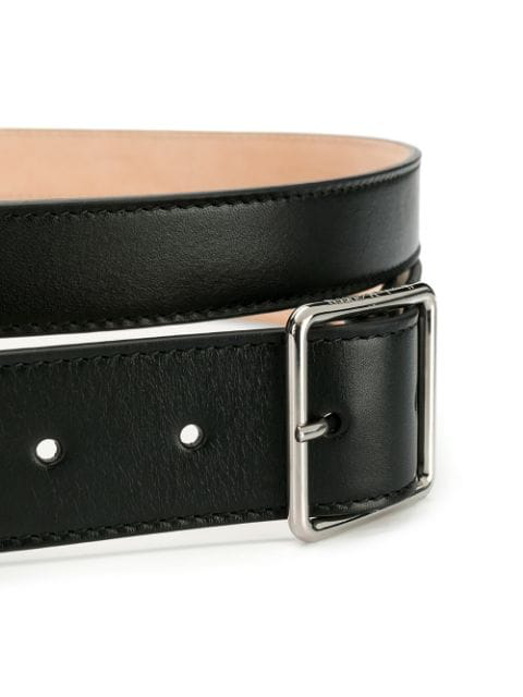 Alexander Mcqueen 60mm Double Smooth Leather Belt In Black