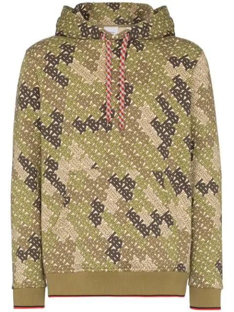 Burberry Casper Tb-print Cotton-blend Hooded Sweatshirt In Green