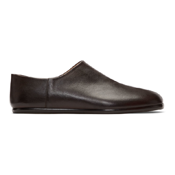 Maison Margiela Tabi Split-toe Full-grain Leather Collapsible-heel Loafers In 900 Black