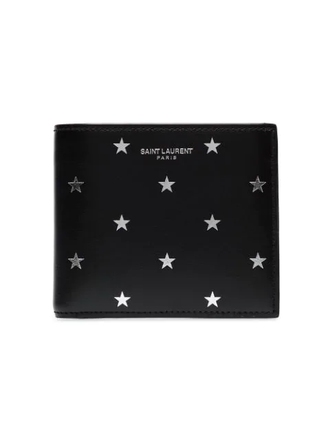 Saint Laurent Metallic Star Leather Wallet - Black